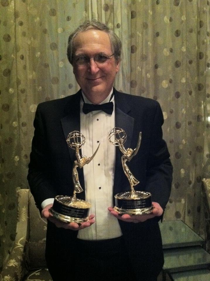 Fred Story with Emmys - picture by his wife Becky Story