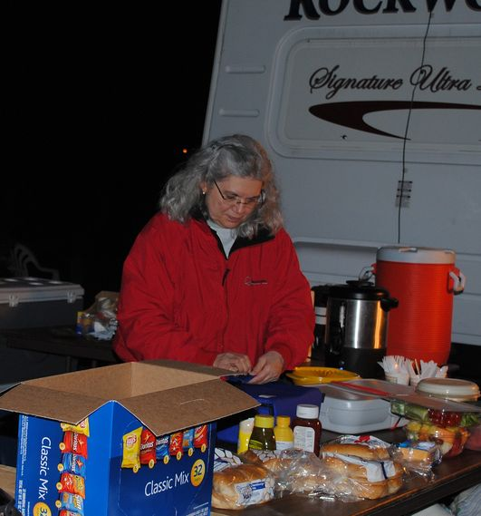 Joyce Rish prepping a midnight meal. Photo by Joanna Rish
