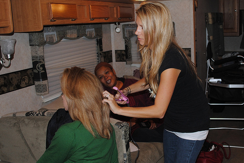 Johanna, Ashley, and Joy inside RV